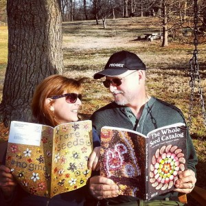 Vance and Nancy looking over the 2015 Baker Creek seed catalogs at Blackacre.